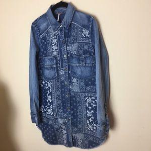 EUC Free People Denim Bandana Print Shirt Dress